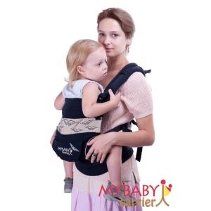Эрго-рюкзак My Baby Carrier  черный с вышивкой птицы