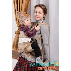 Эрго-рюкзак My Baby Carrier  бежевый с вышивкой птицы