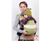 Эрго-рюкзак My Baby Carrier  салатовый с вышивкой бабочка