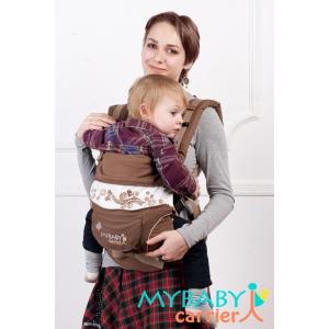 Эрго-рюкзак My Baby Carrier  шоколадный с вышивкой бабочка