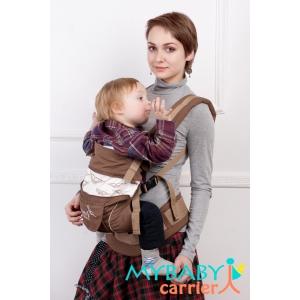 Эрго-рюкзак My Baby Carrier  шоколадный с вышивкой птицы