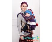 Эрго-рюкзак My Baby Carrier  фиолетовый с вышивкой птицы