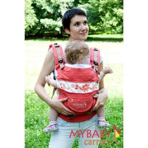 Эрго-рюкзак My Baby Carrier  коралловый с вышивкой бабочка