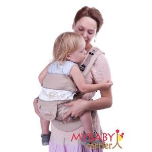 Эрго-рюкзак My Baby Carrier  бежевый с вышивкой бабочки