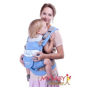 Эрго-рюкзак My Baby Carrier  голубой с вышивкой бабочка