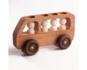 """Деревянная машинка """"Автобус с пассажирами"""""""