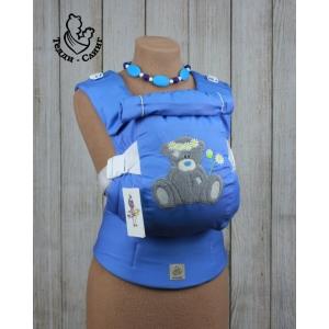 Эрго-рюкзак Тедди слинг ЛЮКС Мишка в ромашках голубой