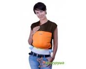 Трикотажный слинг-шарф Кенгуруша Mix кофе-апельсин