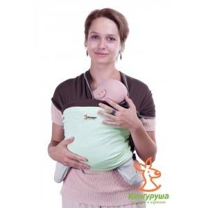 Трикотажный слинг-шарф Кенгуруша Mix кофе-фисташка