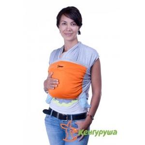 Трикотажный слинг-шарф Кенгуруша Mix серый меланж-апельсин