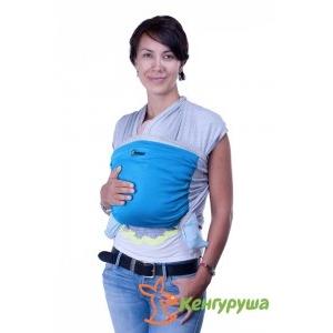 Трикотажный слинг-шарф Кенгуруша Mix серый меланж-бирюза