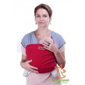 Трикотажный слинг-шарф Кенгуруша Mix серый меланж-бордо