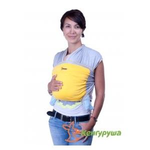 Трикотажный слинг-шарф Кенгуруша Mix серый меланж-солнечный