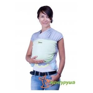 Трикотажный слинг-шарф Кенгуруша Mix серый меланж-фисташка