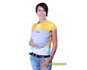 Трикотажный слинг-шарф Кенгуруша Mix солнечный-серый меланжж