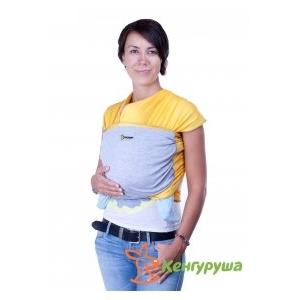 Трикотажный слинг-шарф Кенгуруша Mix солнечный-серый меланж