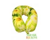 Подушка для кормления МамаРядом холофайбер, наволочка Зеленое лето в подарок