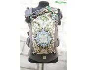 Зеленый орнамент и серый лен эргорюкзак Алое Simply (ходунок)