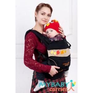 Эргорюкзак My baby carrier Черный с вышивкой шарики.