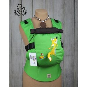 Эрго-рюкзак Тедди слинг ЛЮКС Лисенок с хвостиком салатовый