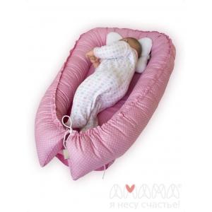 Подушка-бортик детская для сна, Баюленок, розовый горошек