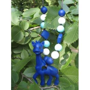 Жираф синий силиконовый прорезыватель -  подвеска