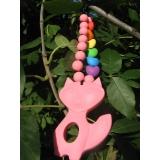 Лисичка розовая силиконовый прорезыватель -  подвеска