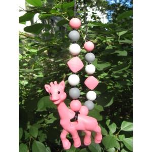 Жираф розовый силиконовый прорезыватель - подвеска
