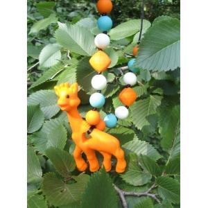 Жираф оранжевый силиконовый прорезыватель - подвеска