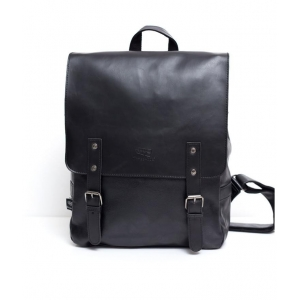 Черный кожаный рюкзак А-4