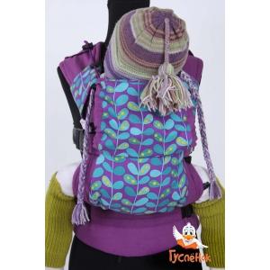 Эргорюкзак АНТИКРИЗИС - Дизайнерский Вьюнок на фиолетовом фоне - фиолетовый лён