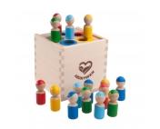 Счетный материал Разноцветные человечки в коробочке-сортере