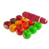 Счетный материал 12 наливных яблочек - 4 сорта в льняном мешочке