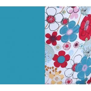 Эргорюкзак Гусленок МАЛЫШ - Красно -синие цветы - изумрудный лён