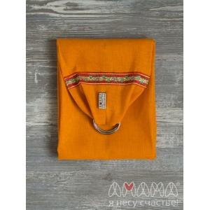 Детский слинг с кольцами для куклы Этно-Лёнушка, оранжевый