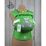 Эрго-рюкзак Тедди слинг ЛЮКС Мишка в ромашках салатовый