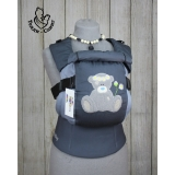 Эрго-рюкзак Тедди слинг ЛЮКС Мишка в ромашках серо-серый