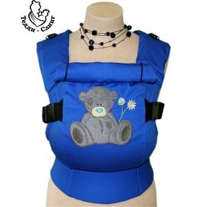 Эрго-рюкзак Тедди слинг ЛЮКС Мишка в ромашках синий