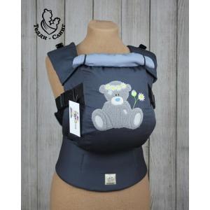 Эрго-рюкзак Тедди слинг ЛЮКС Мишка в ромашках темно-серый