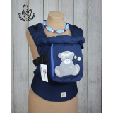 Эрго-рюкзак Тедди слинг ЛЮКС Мишка в ромашках темно-синий