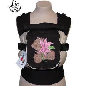 Эрго-рюкзак Тедди слинг ЛЮКС Мишка и лилия коричневый
