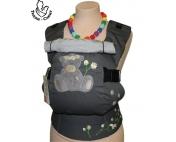 Эрго-рюкзак Тедди слинг ЛЮКС Мишка и ромашки темно-серый