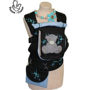 Эрго-рюкзак Тедди слинг ЛЮКС Мишка со звездами черно-голубой