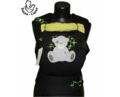 Эрго-рюкзак Тедди слинг ЛЮКС Мишка со звездами черно-салатовый
