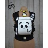 Эрго-рюкзак Тедди слинг ЛЮКС Панда черно-белый с вышивкой на поясе и лямке