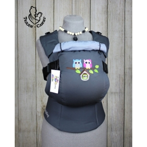 Эрго-рюкзак Тедди слинг ЛЮКС Совята на ветке темно-серый