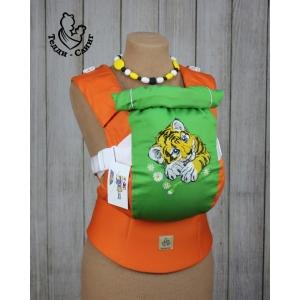 Эрго-рюкзак Тедди слинг ЛЮКС Тигренок в ромашках оранжевый